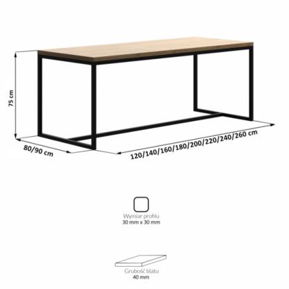 stół boston wymiary