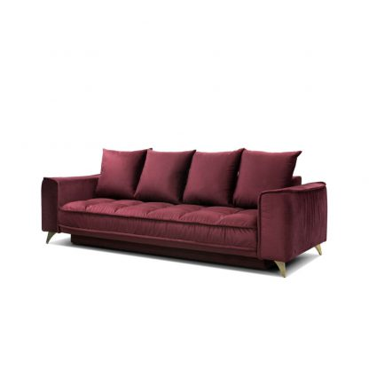 bordowa sofa belavio befame z funkcją spania